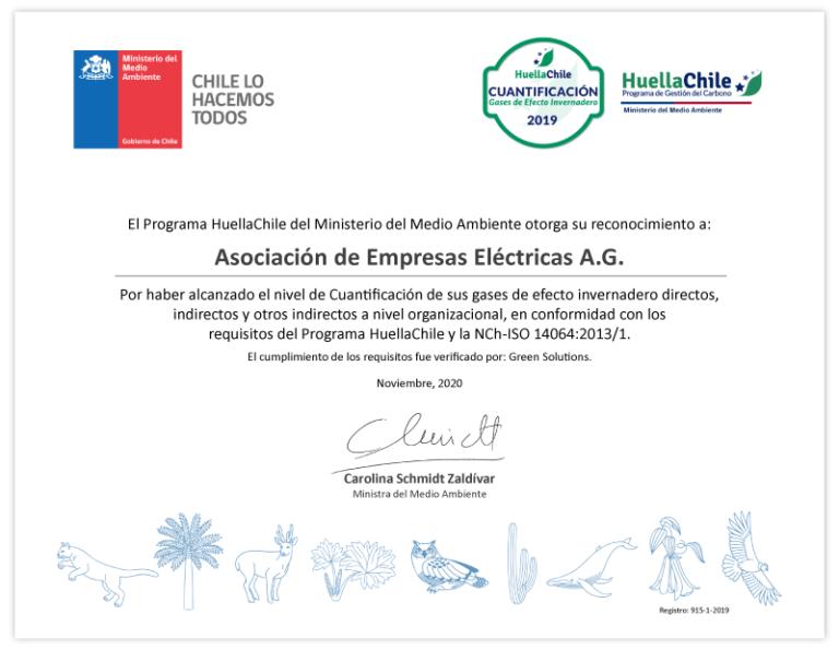 EEAG HuellaChile certificado gases 2019
